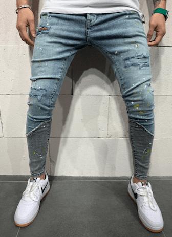 jeans super skinny destroy bleu homme