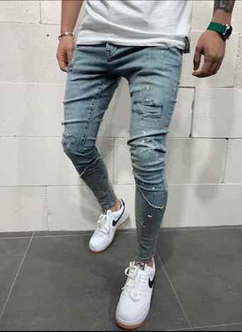jeans skinny destroy bleu homme