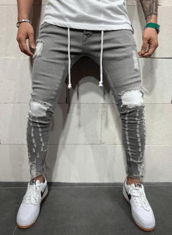 JEANS  SKINNY HOMMES DESTROY GRIS BANDES Blanches