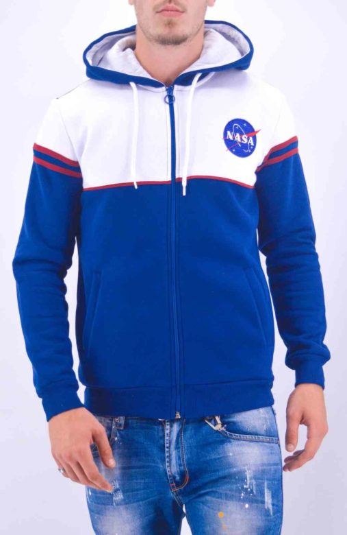 VESTE POLAIRE A CAPUCHE NASA BLEU - SWEAT NASA Brodé- MODE URBAINE