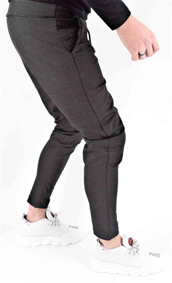 pantalon à carreaux gris foncé homme