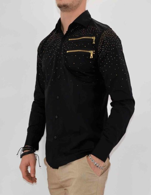 CHEMISE NOIRe STRASS HOMME