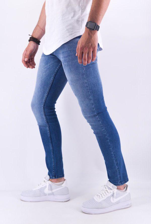 PReMIUM - JEAN SLIM HOMME Délavage Bleu - Mode Urbaine