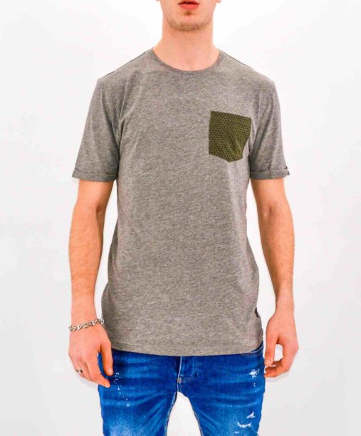 ONLY & SONS - TSHIRT GRIS POCKET KAKI