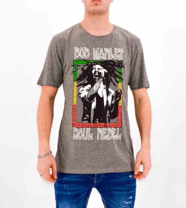 ONLY & SONS - T-SHIRT GRIS BOB MARLEY