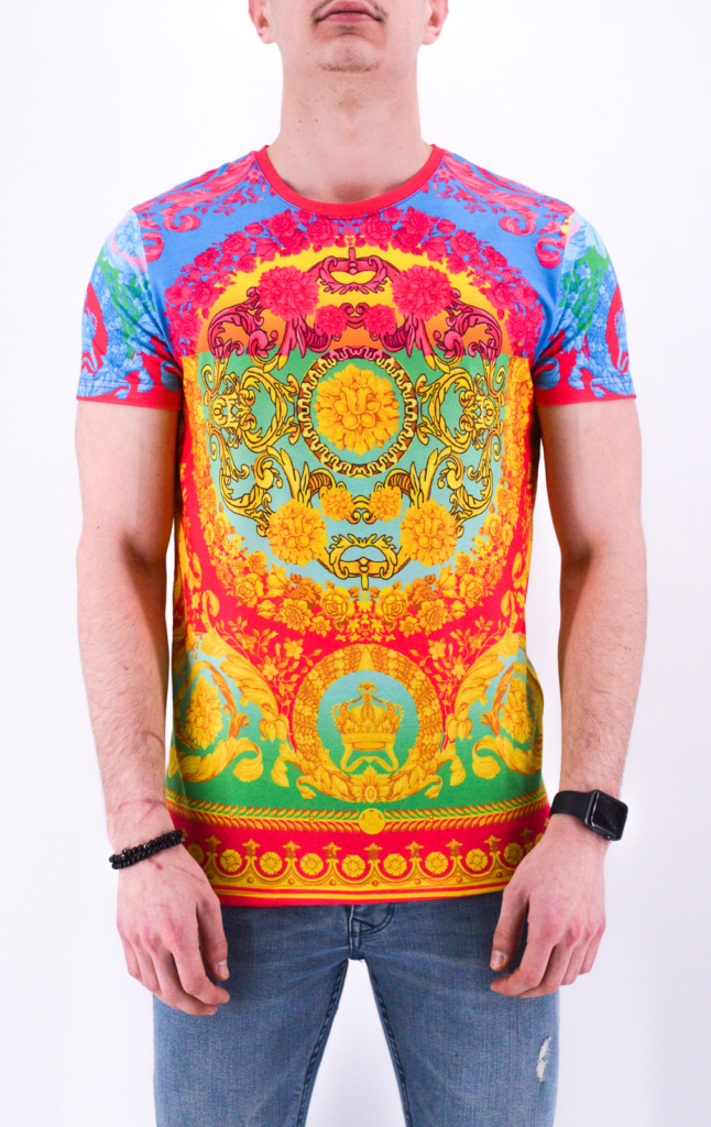 TEE SHIRT MULTI-COULEURS STYLE BAROQUE HOMME - MODE URBAINE