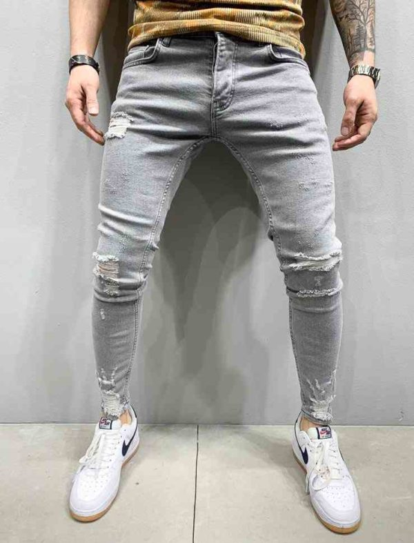 Jean slim homme - Jean slim destroy gris - Mode urbaine