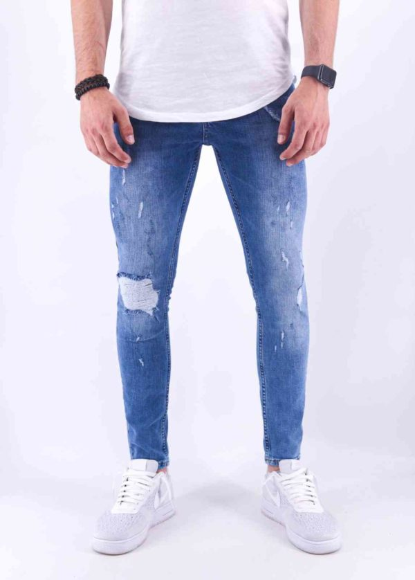 PReMIUM - JEAN SLIM HOMME Délavage Bleu - Mode Urbaine 4410