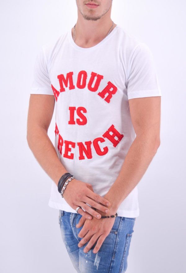 "TEE-SHIRT HOMME ""AMOUR IS FRENCH"" BLANC ET ROUGE - Mode Urbaine AD-18 BR"