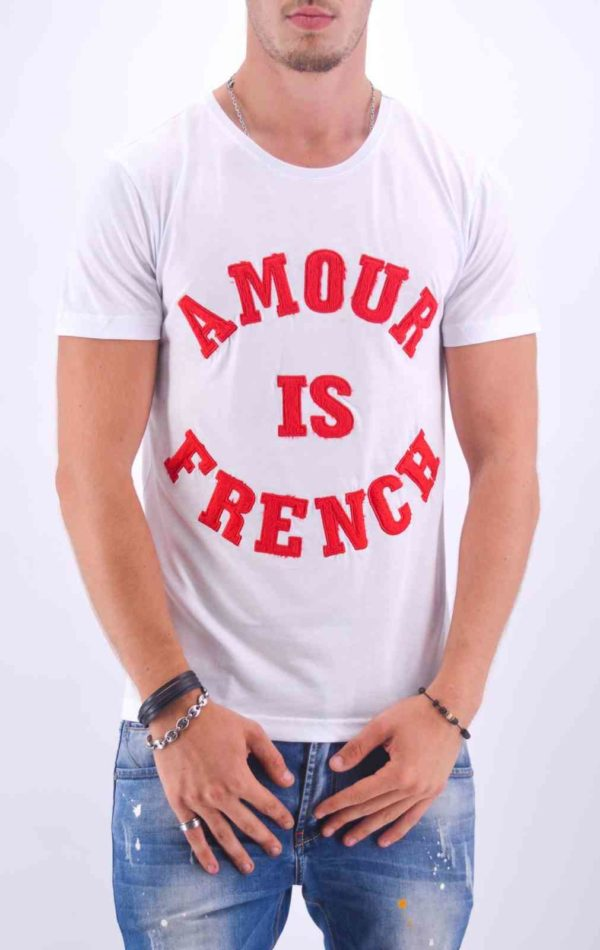 "T SHIRT AMOUR IS FRENCH"" BLANC ET ROUGE - Mode Urbaine"