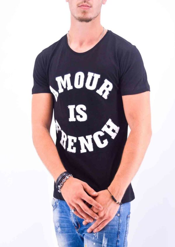 "TEE-SHIRT ""AMOUR IS FRENCH"" NOIR HOMME - Mode Urbaine"