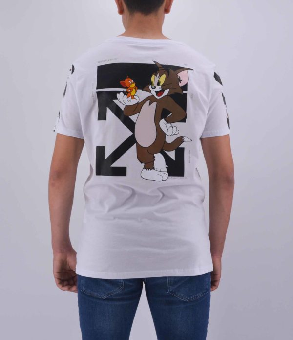 TSHIRT TOM & JERRY BLANC OVERSIZE HOMME