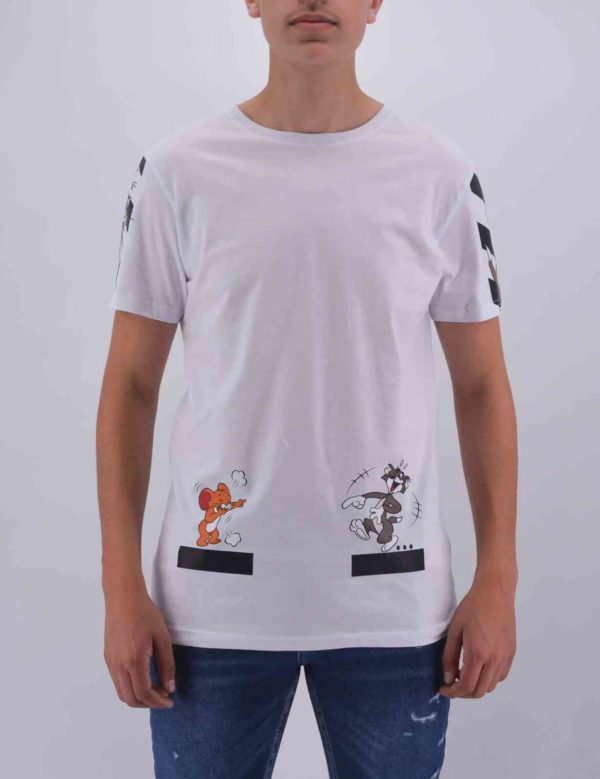 T SHIRT TOM & JERRY BLANC OVERSIZE HOMME
