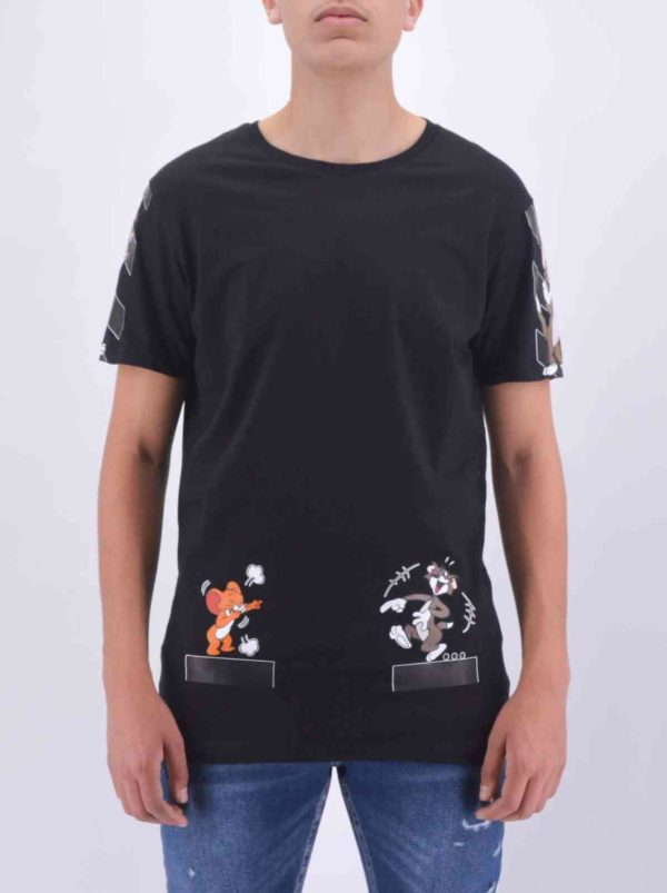 T-SHIRT TOM & JERRY NOIR OVERSIZE HOMME