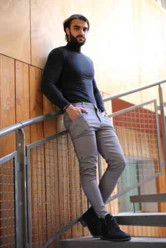 pantalon skinny gris homme