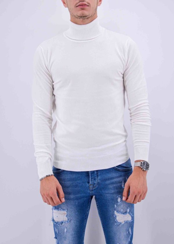 pull col roulé blanc homme m-004