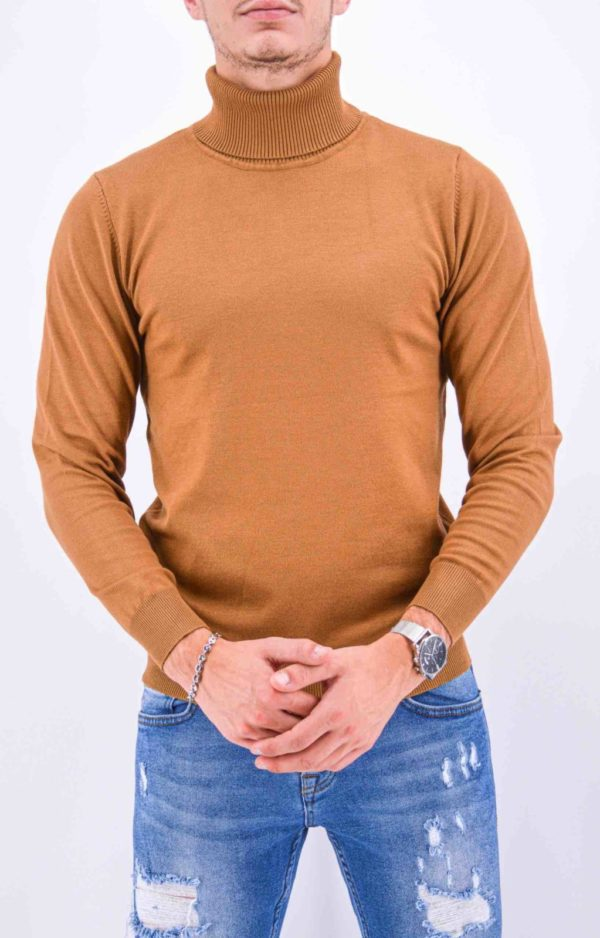 pull col roulé camel homme m-007