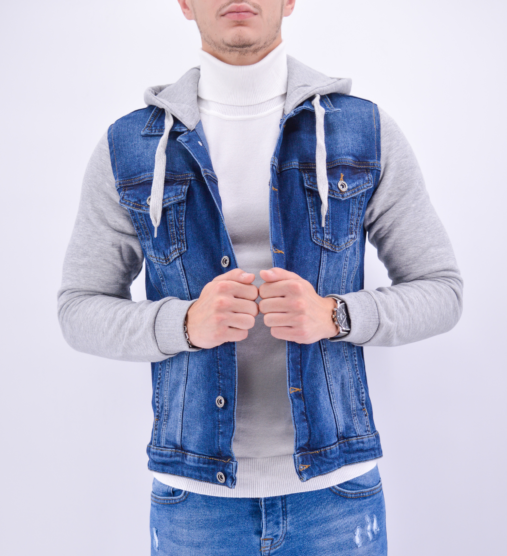 veste jean bleu à capuche