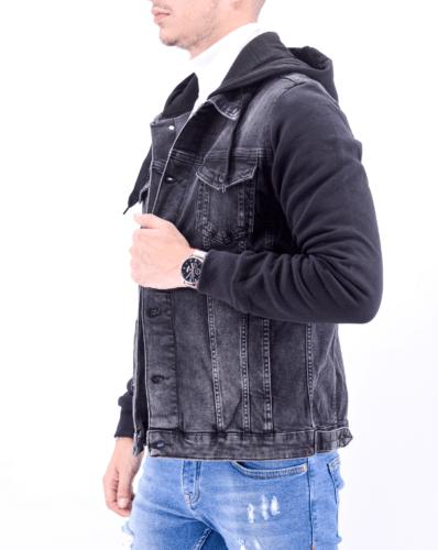 veste en jean noire à capuche
