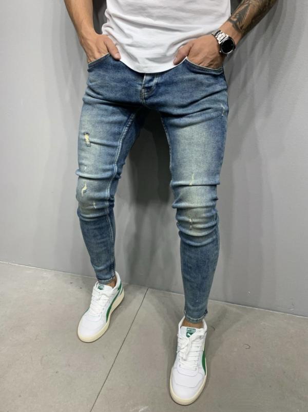 jeans homme skinny destroy bleu homme