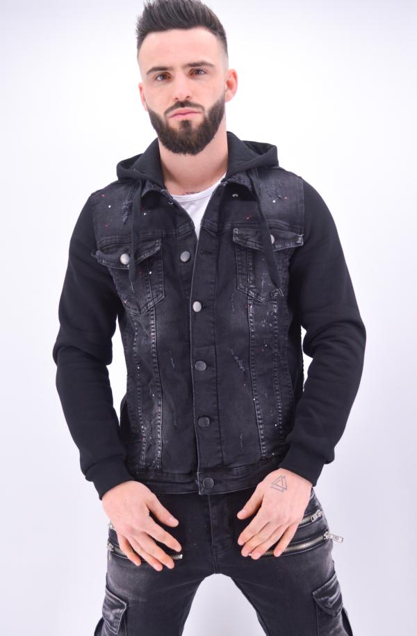 Veste en jean capuche noir peinture - Mode Urbaine