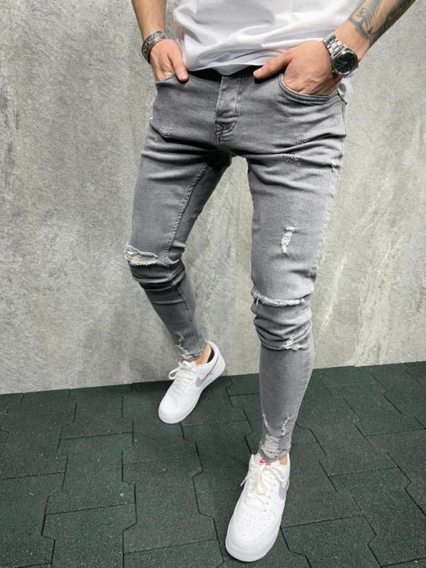 jeans skinny homme effet déchiré gris