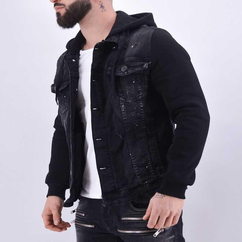 Veste en jean capuche noire peinture – Mode Urbaine